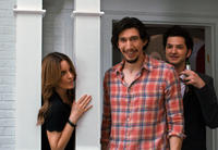 Tina Fey as Wendy Altman, Adam Driver as Phillip Altman and Ben Schwartz as Rabbi Charles Grodner in