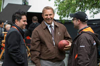 Rajiv Joseph, Kevin Costner and Scott Rothman on the set of