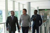 Courtney B. Vance as Miles Dyson, Jason Clarke as John Connor and Dayo Okeniyi as Danny Dyson in