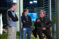 Producer David Ellison, producer Dana Goldberg and Arnold Schwarzenegger on the set of