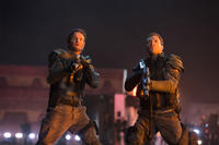 Jason Clarke as John Connor and Jai Courtney as Kyle Reese in