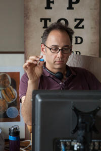 Director David Wain on the set of