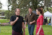 Director Michael Hoffman, James Marsden and Michelle Monaghan on the set of