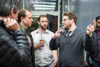 Jonathan Watson, Brandon Trost, Evan Goldberg and Seth Rogen on the set of