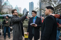 Seth Rogen, James Franco and Randall Park on the set of