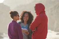 Gugu Mbatha-Raw, director Gina Prince-Bythewood and Nate Parker on the set of