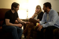 Director Jason Reitman, Producer Helen Estabrook and Adam Sandler on the set of