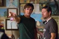 Dermot Mulroney and director Leigh Whannell on the set of