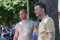 Jude Law and director Kevin Macdonald on the set of