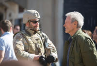 Producer Bradley Cooper and director/producer Clint Eastwood on the set of
