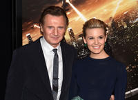 Liam Neeson and Maggie Grace at the New York screening of