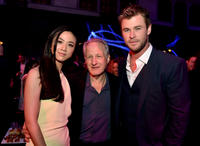 Tang Wei, Michael Mann and Chris Hemsworth at the California premiere of