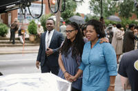 David Oyelowo, director/executive producer Ava DuVernay and producer Oprah Winfrey on the set of