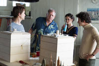 Joseph Gordon-Levitt, director Robert Zemeckis, Charlotte Le Bon and Clement Sibony on the set of
