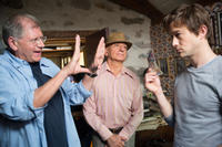 Director Robert Zemeckis, Sir Ben Kingsley and Joseph Gordon-Levitt on the set of