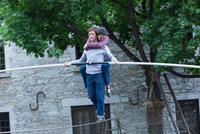 Joseph Gordon-Levitt as Philippe Petit and Charolette Le Bon as Annie in