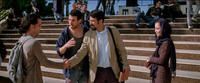 "Reece Ritchie as Afshin, Tom Cullen as Ardi, Bamshad Abedi-Amin as Mehran and Marama Corlett as Mona in ""Desert Dancer."""