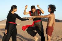 "Frieda Pinto as Elaheh, Tom Cullen as Ardi and Reece Ritchie as Afshin in ""Desert Dancer."""