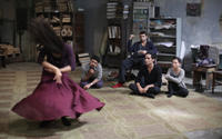 "Frieda Pinto as Elaheh, Bamshad Abedi-Amin as Mehran, Tom Cullen as Ardi, Reese Ritchie as Afshin and Marama Corlett as Mona in ""Desert Dancer."""