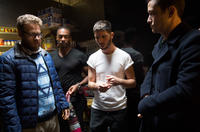 Seth Rogen, Antohy Mackie, Director Jonathan Levine and Joseph Gordon-Levitt on the set of in