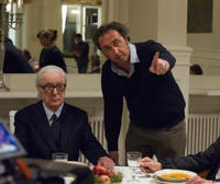 Michael Caine and director Paolo Sorrentino on the set of