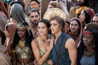 Courtney Eaton as Zaya and Brenton Thwaites as Bek in