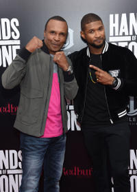 Sugar Ray Leonard and Usher at the New York premiere of