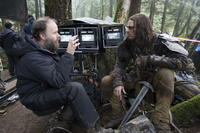 Director Marcus Nispel and Karl Urban on the set of