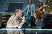 Director Joss Whedon with Scarlett Johansson.