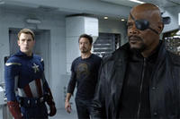 Chris Evans as Steve Rogers, Robert Downey Jr. as Tony Stark and Samuel L. Jackson as Nick Fury in