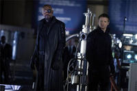 Samuel L. Jackson as Nick Fury and Jeremy Renner as Hawkeye in
