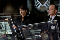 Cobie Smulders as Agent Maria Hill and Clark Gregg as Agent Phil Coulson in