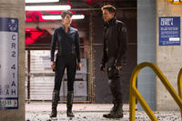 Cobie Smulders as Agent Maria Hill and Jeremy Renner as Hawkeye in