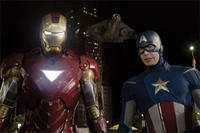 Robert Downey Jr. as Iron Man and Chris Evans as Captain America in