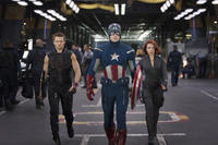 Jeremy Renner, Chris Evans and Scarlett Johansson in