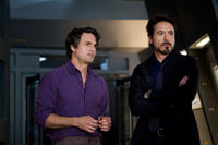 Mark Ruffalo as Bruce Banner and Robert Downey Jr. as Iron Man in