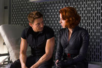 Jeremy Renner as Hawkeye and Scarlett Johansson as Black Widow in
