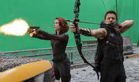 Scarlett Johansson as Black Widow and Jeremy Renner as Hawkeye in