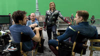 Robert Downey Jr., director Joss Whedon, Chris Hemsworth and Chris Evans in