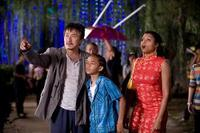 Jackie Chan as Mr. Han, Jaden Smith as Dre Parker and Taraji P. Henson as Sherry in