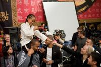 Jaden Smith and director Harald Zwart on the set of
