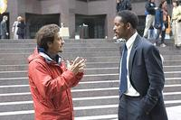 Director Gabriele Muccino and Will Smith on the set of