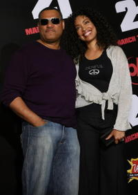 Actors Laurence Fishburne and Gina Torres at the Las Vegas premiere of