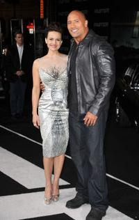 Carla Gugino and Dwayne Johnson at the California premiere of
