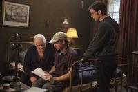 Anthony Hopkins as Father Lucas, Director Mikael Hafstrom and Colin O'Donoghue as Michael Kovak on the set of