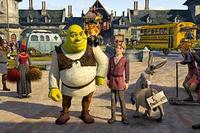 Shrek (Mike Myers), Puss In Boots (Antonio Banderas), Artie (Justin Timberlake) and Donkey (Eddie Murphy) in