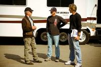 Executive producer Steven Spielberg, producer Ian Bryce and director Michael Bay on the set of