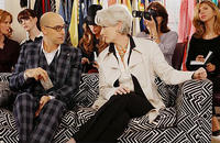 Fashion magazine editor Miranda Priestly (Meryl Streep) and fashion director Nigel Kipling (Stanley Tucci) in