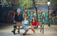 Director Pedro Almodovar, Carmen Maura and Penelope Cruz on the set of