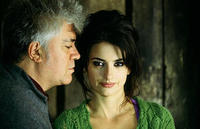 Director Pedro Almodovar and Penelope Cruz on the set of